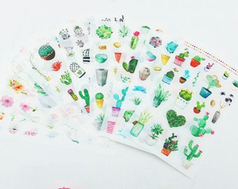6 Sheet Cactus Sticker Set/Succulent/Planner Stickers/Journal/Agenda/Craft Supplies/Scrapbooking/Card Making/Tags/cactus sticker set