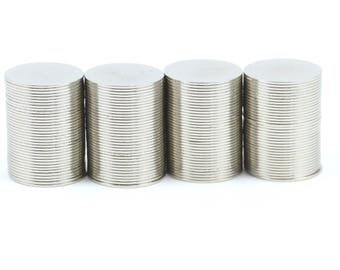 14mm x 0.5mm strong N35 neodymium round circular disk magnets ideal for magnetic card closures GuysMagnets