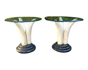 Maitland Smith Faux Elepht Tusk End Tables - a Pair