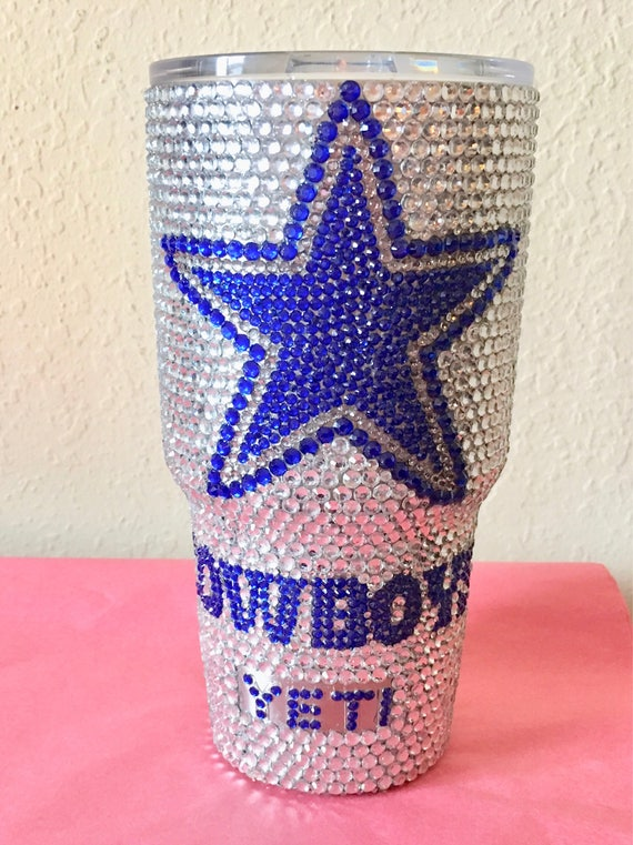 Rhinestone Yeti Rambler 30 oz with football  LOGO