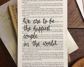 We are to be the happiest couple in the world - Jane Austen Quote - Pride and Prejudice - Book Page - Hand-Lettered Quote