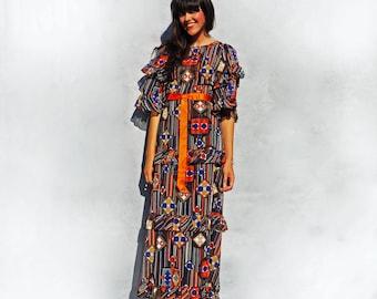 Bell Sleeve Dress Vintage 70s Maxi Jean Allen Boho