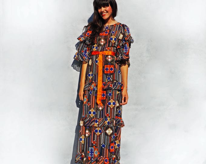 Bell Sleeve Dress, Vintage 70s Maxi Dress, Jean Allen Dress, Vintage Boho Maxi Dress, Psychedelic Dress, Wedding Guest Dress, Orange Dress