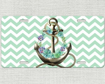 Anchor License Plate, Front Car Tag, Floral License Plate, Boho License Plate, Gifts for Her, Graduation Gift, New Car Gift 9325