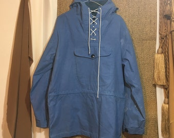 Vintage 1970's Anorak Pullover Parka Jacket With A Hood Size L