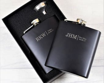 Bespoke Laser-Engraved Black Wedding Hip Flasks, Contemporary Wedding Gifts, Black Hip Flask with Gift Box & Funnel