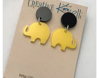 Acrylic Earrings, Elephant, Yellow, Black