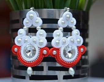 Red and white - soutache earrings - Gift for her