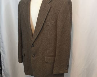 Vintage Men's Tan Brown Slate Blue Hounds Tooth Sport Coat Jacket Blazer 44R Large L Cricketeer 80s Eighties Wool 2 Button Preppy Classic