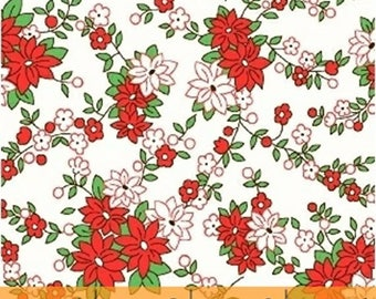 Storybook Christmas - Poinsettias in White / Red - Floral Cotton Quilt Fabric - Whistler Studios - Windham Fabrics - 41749-1 (W4253)