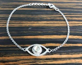 925 Sterling Silver Moon Stone Evil Eye Bracelet