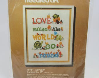 Vintage Bucilla Needlecraft Love Sampler Kit 3476