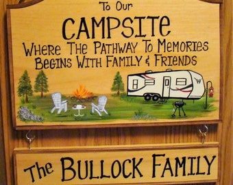 LARGE Custom Camping CAMPSITE  or Camper Rv Sign Hand Painted with your Camper Grill Fishing Beer Fire Music RV Trailer Personalized Signs