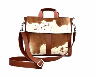 Western Cowhide 15'' Computer Business Briefcase Shoulder Laptop Bag -08