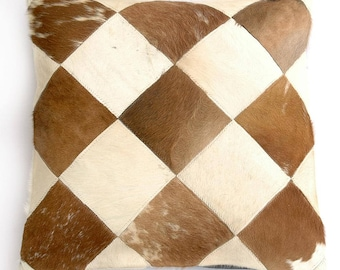 Natural Cowhide Luxurious Patchwork Hairon Cushion/pillow Cover (15''x 15'')a154