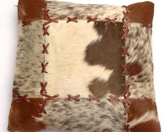 Natural Cowhide Luxurious Patchwork Hairon Cushion/pillow Cover (15''x 15'')a179