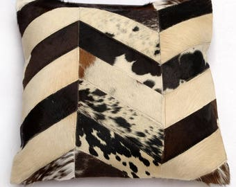 Natural Cowhide Luxurious Patchwork Hairon Cushion/pillow Cover (15''x 15'')a269