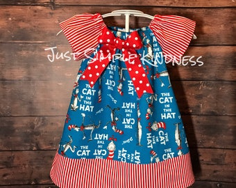 Cat in the Hat Dress, Girls Cat and the Hat Dress, Dr Suess Birthday, Cat in the Hat Birthday, Dr Suess Birthday Dress, Girls Dresses, Dress