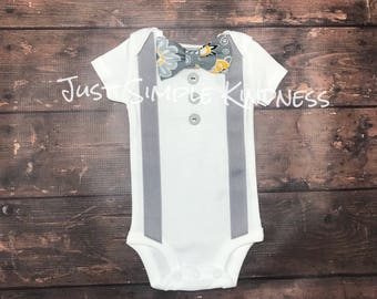 Baby boy coming home outfit, baby boy gift, baby boy Easter bodysuit, Baby Boy Clothes, new baby boy, new baby, boys bow tie suspend