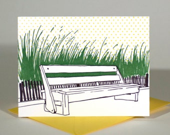 Rehoboth Beach Delaware Letterpress Card | Boardwalk Bench | purple, green & yellow single blank card with envelope