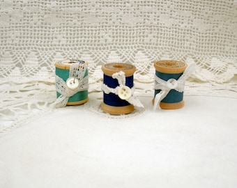 Vintage Wooden Spools of Thread-Set of Three in Shades of Blue