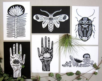 Folk art postcard pack, black and white, monochrome illustration, tattoo style design, set of six A6 art postcards