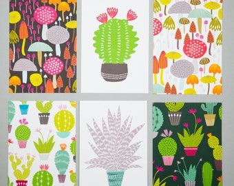 Cactus and toadstool postcard pack, set of six A6 art postcards