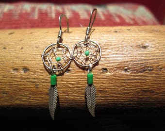 Faux Malachite and Sterling Feather Dangle Earrings