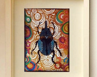 Original ACEO Insects Collectible Insect ATC Original painting Free Shipping ACEOs cards