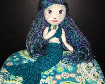 READY TO SHIP Ooak 15 inch Handmade Crochet Mermaid Doll Evangeline