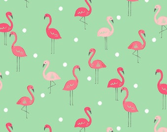 Flamingo fabric  by Dear Stella pink flamingo fabric Free Domestic Ship over 50