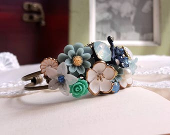 Victorian style flower cuff Vintage Bridal Corsage Assemblage jewelry Shabby chic Floral bridal cuff blue and white flower accessory