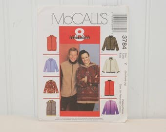 McCall's 3784 Jackets And Vests (c. 2002) Misses' and Mens' Sizes Small, Medium, Large, 8 Great Looks, 1 Easy Pattern, Fall, Spring Coat