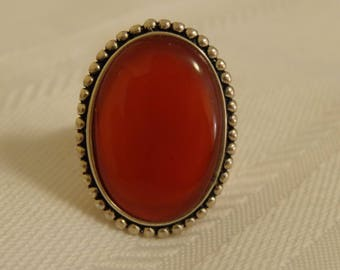 Sterling SIlver and Carnelian Ring - size 8