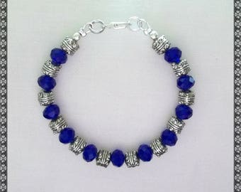 blue bracelet, dark blue bracelet, crystal bracelet, blue, bright blue