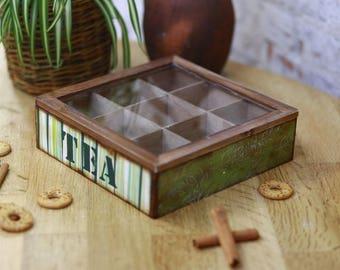 Wooden tea box, Tea box with glass display, Tea organizer, Tea gift box, Rustic wooden box, Tea bag box, Storage box, Tea container