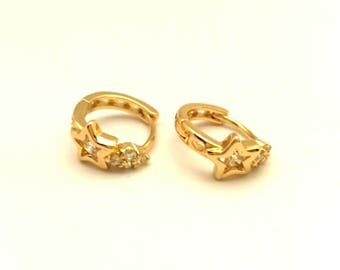 Woman Hoop Star Earrings Golden Brass & White Rhinestones #278