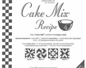 Moda Cake Mix Recipe 4, contains 44 recipe cards teaching you how to slice and dice your Layer Cakes
