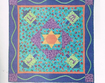 QUILT PATTERN - Hanukkah Holiday Dreidel Table Cloth Quilt - Star Of David - Applique Quilt Pattern - Modern Quilt Pattern - Not A PDF