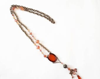 1970's beaded necklace vintage necklace 70's boho necklace orange beaded neckkace 70's necklace long beaded necklace ladies vintage necklace