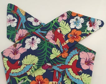 Blue Tropical Birds and Flowers Handmade Fabric Pinup-Inspired Head Scarf