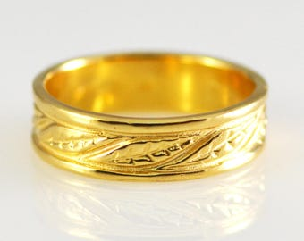 14k Yellow Solid Gold Band