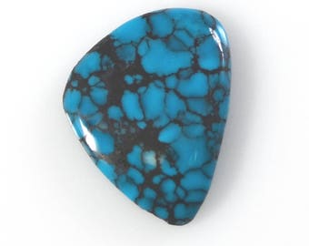 Natural Kingman Spiderweb Turquoise Stabilized Freeform Cabochon/ 5.67 Carats, 17.8 x 13.8mm/ Not Backed