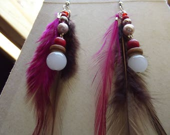 earrings with feathers and pearls 4cm tall red and white colors