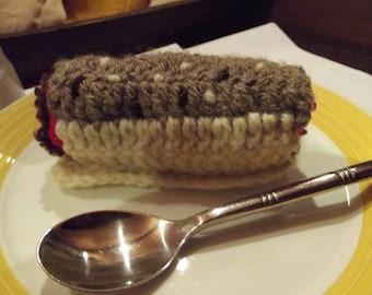 "cakes ""logs with coffee"" 10cmx4cm crochet wool"