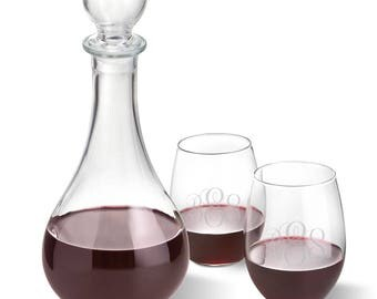 Bormioli Rocco Loto Wine Decanter with stopper and 2 Stemless Wine Glass Set - Gifts for Her - Mother's Gifts - Gift for Mom - gc1599