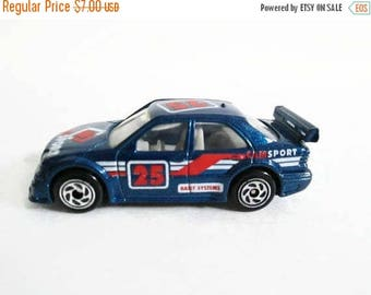 Christmas in July Sale AMG Mercedes C Class Matchbox Car, Blue Racing Vehicle No 25, Vintage Toy, CamSport Tampos, Rally Systems