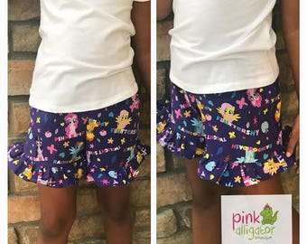 Girls Ruffle Shorts 12m-8 Choose your Character - like My Little Pony