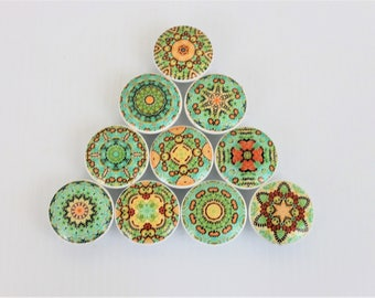 Set of 10 Peach and Green Mandala Cabinet Knobs