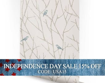 Independence Day Sale - Branch Birds Blue Peel & Stick Fabric Wallpaper Repositionable